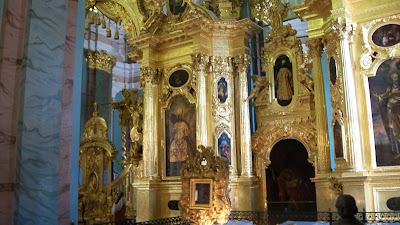 The interior of the cathedral in Peter and Paul Fortress, absolutely covered in gold.