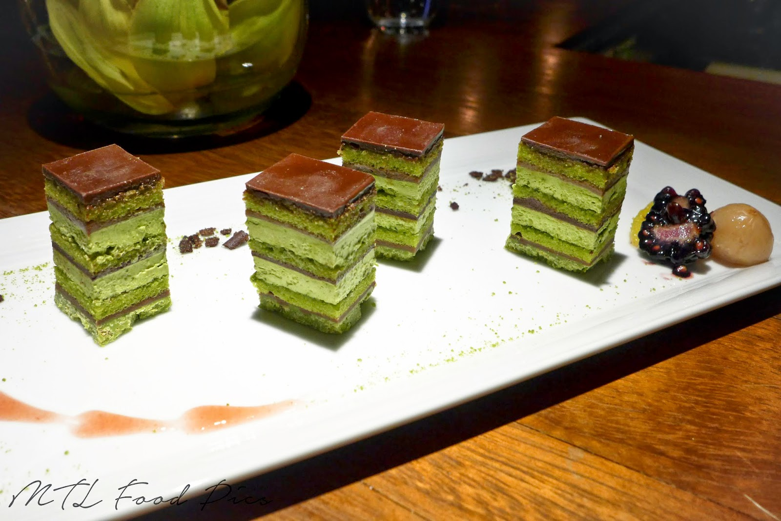 Matcha and Chocolate Opéra Cake - Japanese Montreal