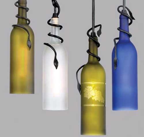 Hanging Bottle Lamp Kit: Little Pink Apples: Wine Bottle Chandelier