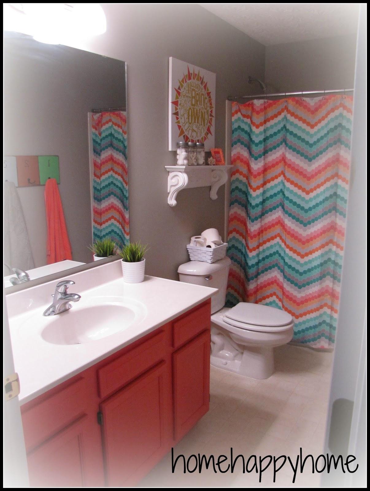 gray and coral kid teen bathroom. home happy home  gray and coral kid teen bathroom
