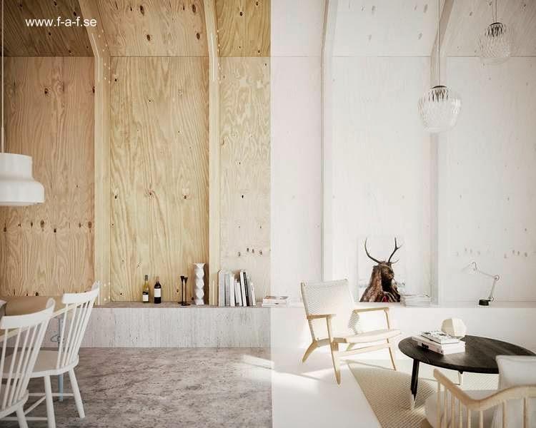 Otra vista interior de la casa moderna sueca en el primer volumen de uso social