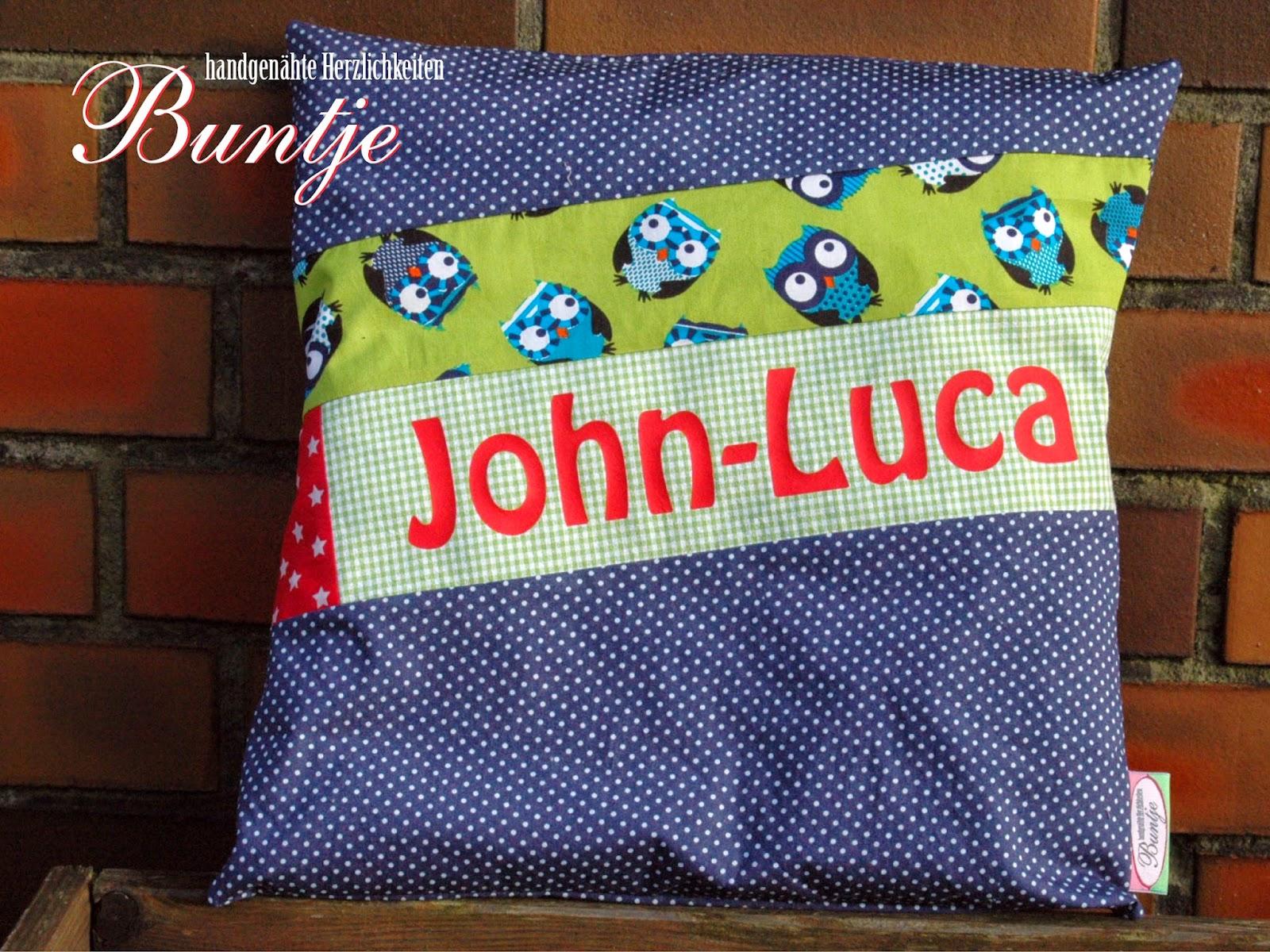 Namenskissen Kissen Name Geschenk Kind Baby Geburt Taufe 1. Geburtstag Baumwolle Junge blau grün rot Eulen John-Luca handmade nähen Buntje