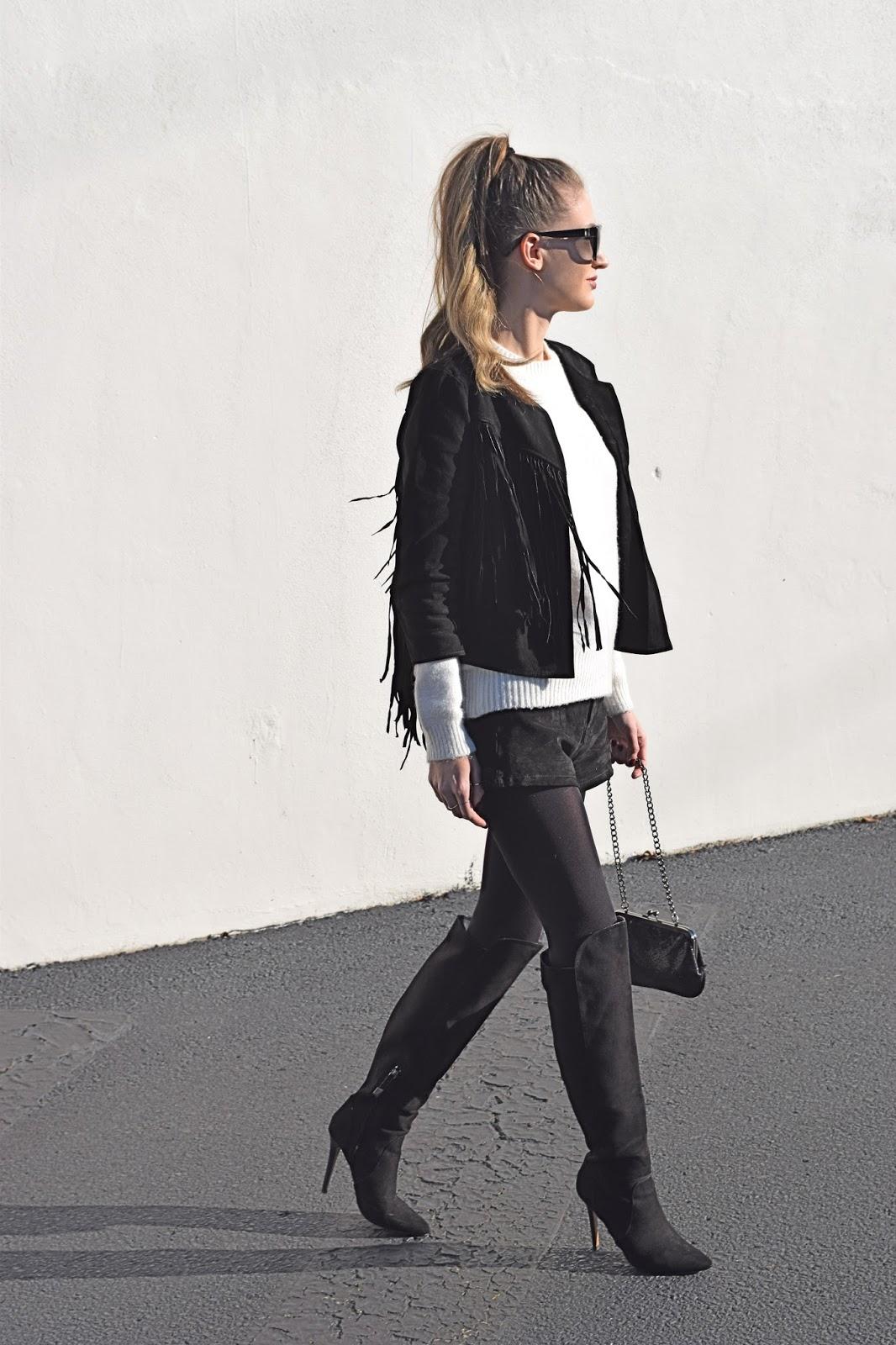 wearing forever21 fringe genuine suede fringe jacket, forever21 suede shorts, blogger suede look