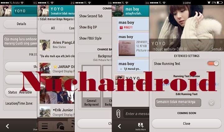 download app master apk bbm+ mod with change background tema Ui fbstyle big Dp