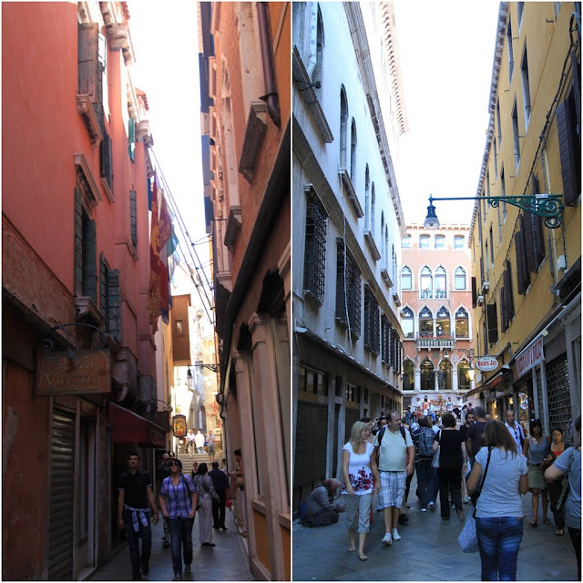 More narrow streets for shopping and dinning can be seen in Venice, Italy