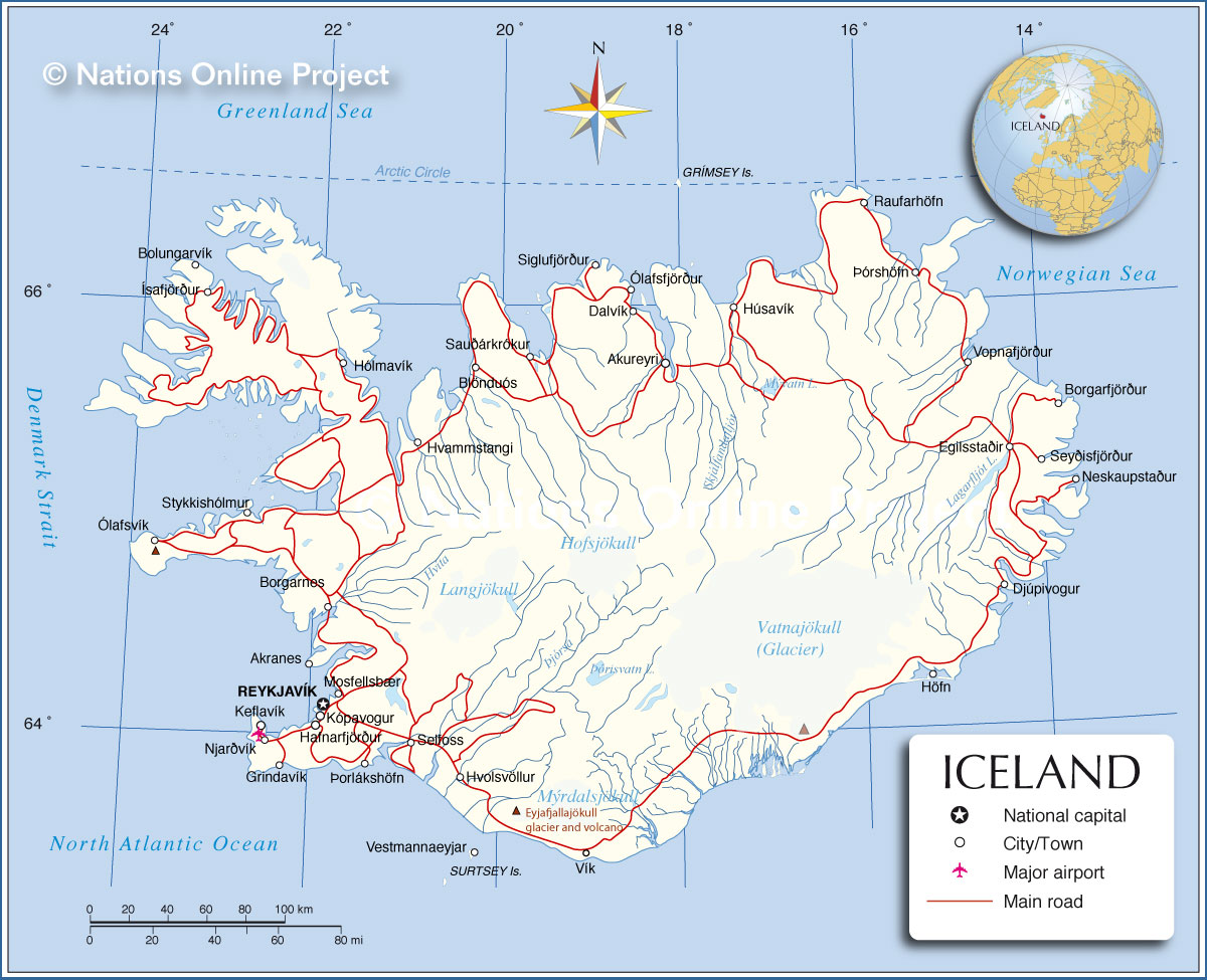 Unusual image in printable iceland map