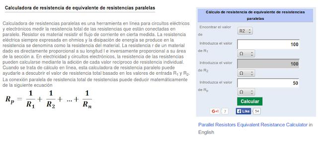 http://es.ncalculators.com/electronics/parallel-resistor-calculadora.htm