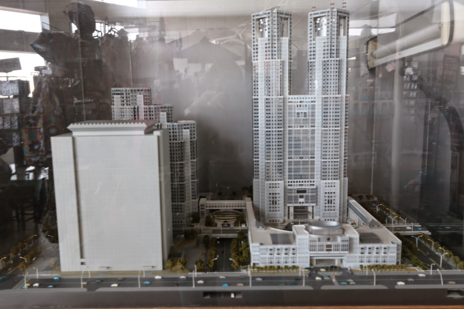 The model of Tokyo Metropolitan Government Building can be seen at its observation deck in Shinjuku Business District of Tokyo, Japan