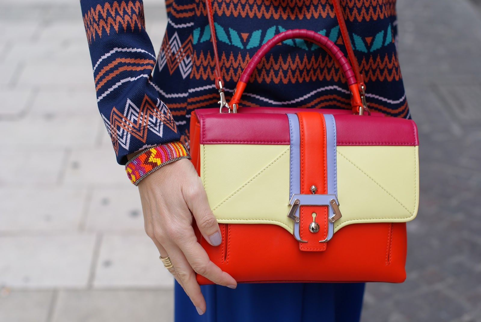 Paula Cademartori Petite Faye color block in orange on Fashion and Cookies fashion blog