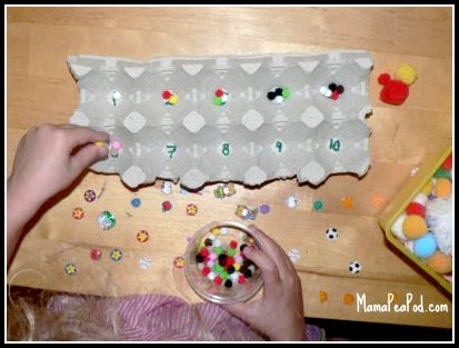 counting pom poms for preschool math play