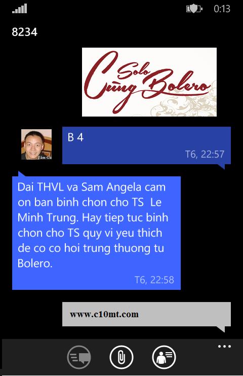 Cú pháp nhắn tin ủng hộ ca sĩ trong Solo cùng Bolero