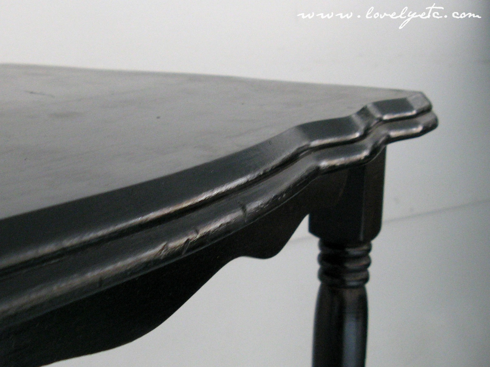 Before  glossy blackThe Cheapskate versus the Chalk Paint   Lovely Etc . Painting Dining Table Black. Home Design Ideas