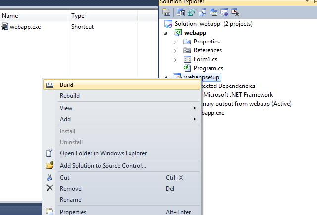 create setup project in vs 2010