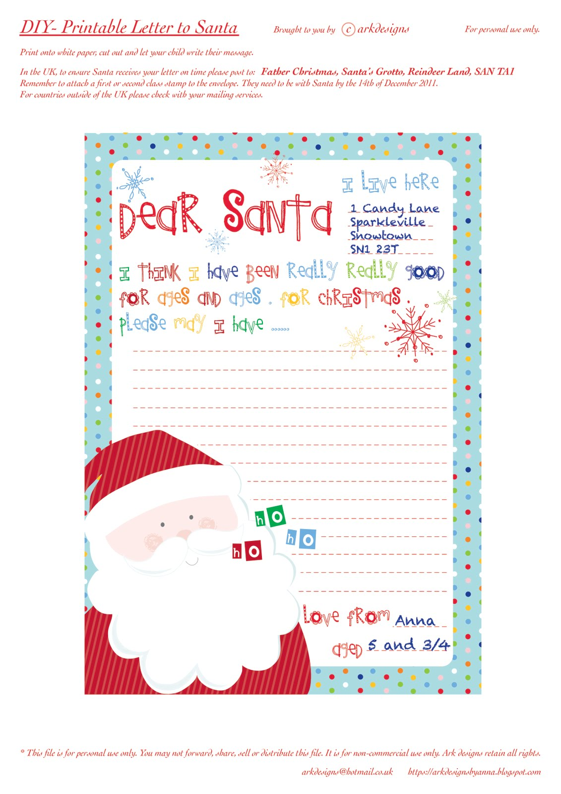 Here's my printable Letter to Santa/Father Christmas.