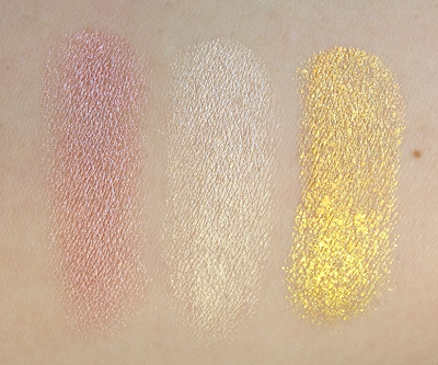 Maybelline Color Tattoo Metal Eyeshadow Barely Branded, Inked in Pink, Gold Rush swatches