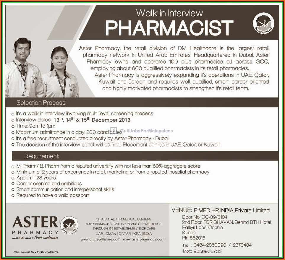 walk in interview for pharmacist gulf jobs for malayalees walk in interview for pharmacist