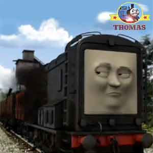 Number 6 Percy tank engine rolled backward and surprised Thomas and friends Diesel the train again