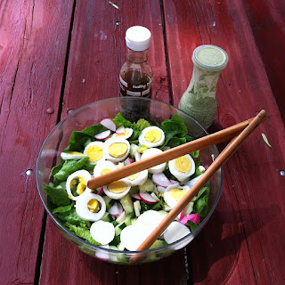Lettuce Salad with radishes, cucumber and hard boiled eggs, accompanied by Creamy Pesto Dressing - FoyUpdate.blogspot.com