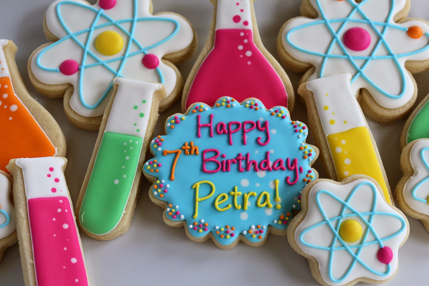 science birthday party cookies