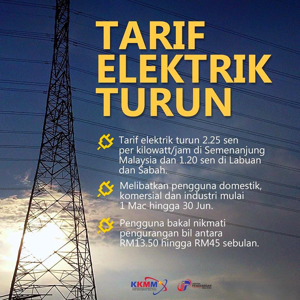 tarif elektrik turun
