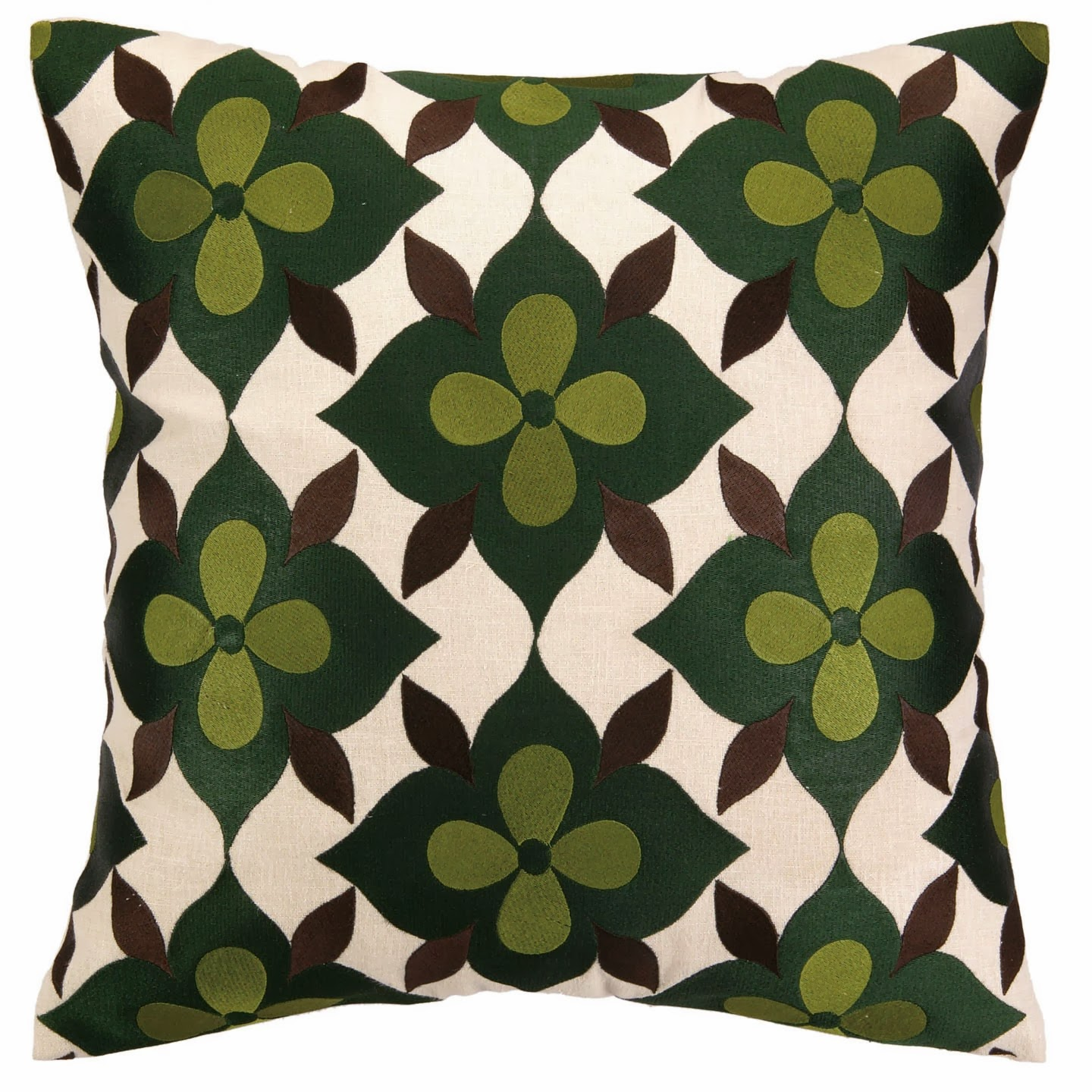 COCOCOZY Coco's Flower embroidered pillow in green, avocado and brown