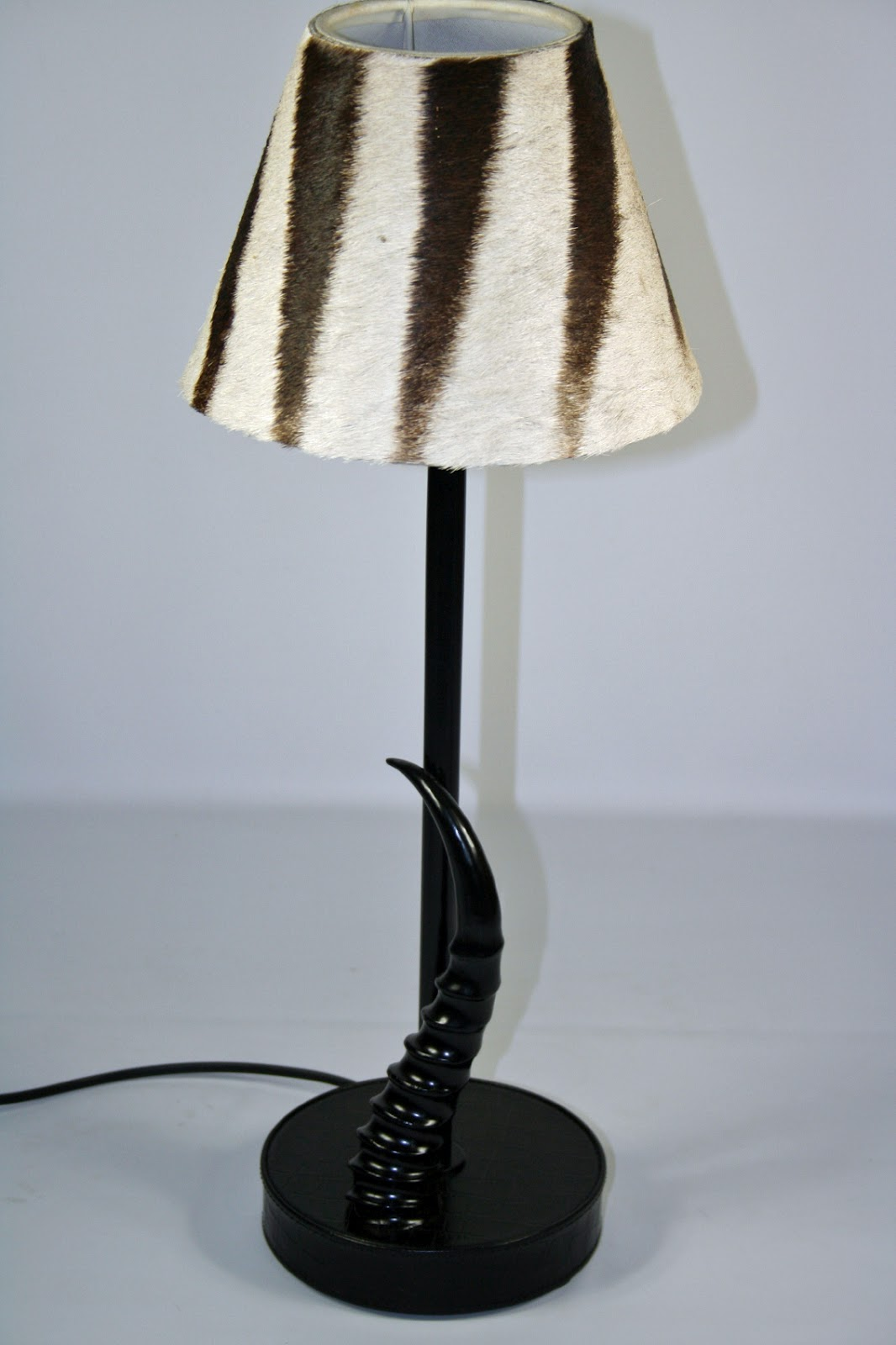 Unique floor table bedside lamps phases africa african decor small zebra lampshade and black springbok horn base phases africa aloadofball Images