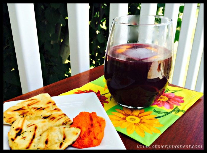 Sangria, Red Pepper Spread and Grilled Pitas