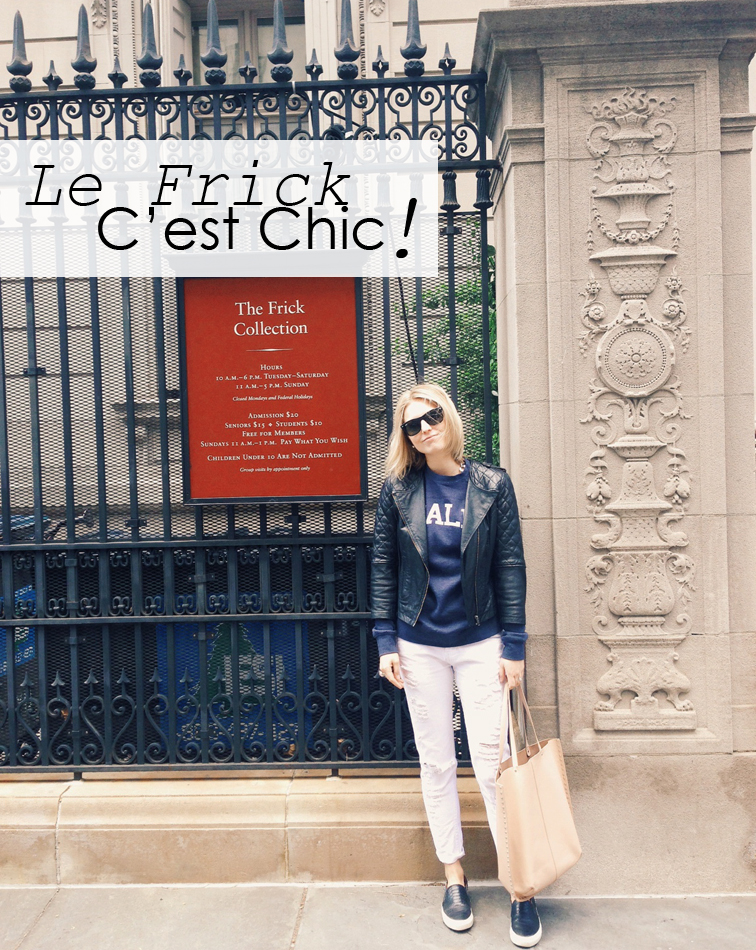 Le Frick C'est Chic!, The Frick Collection, Fashion Over Reason, quilted leather bomber jacket by ASOS, Zara white destroyed boyfriend denim and nude leather bag, Sandro ANACONDAs slip-on sneakers Suburban Riot Kale sweatshirt