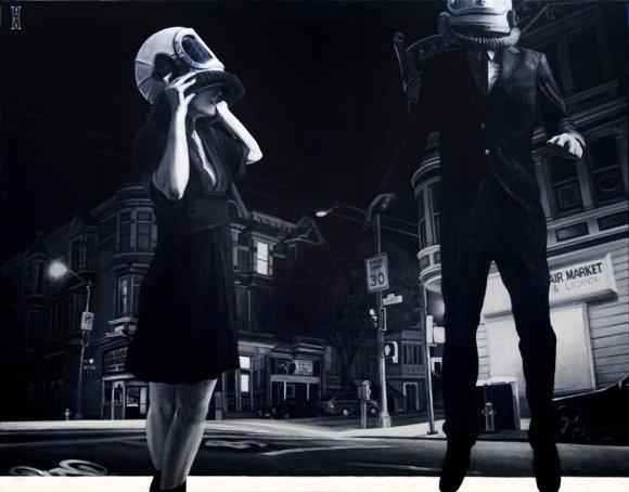 alec huxley pinturas surreais ficção científica noir vintage