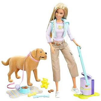 Barbie doll with her pet dog