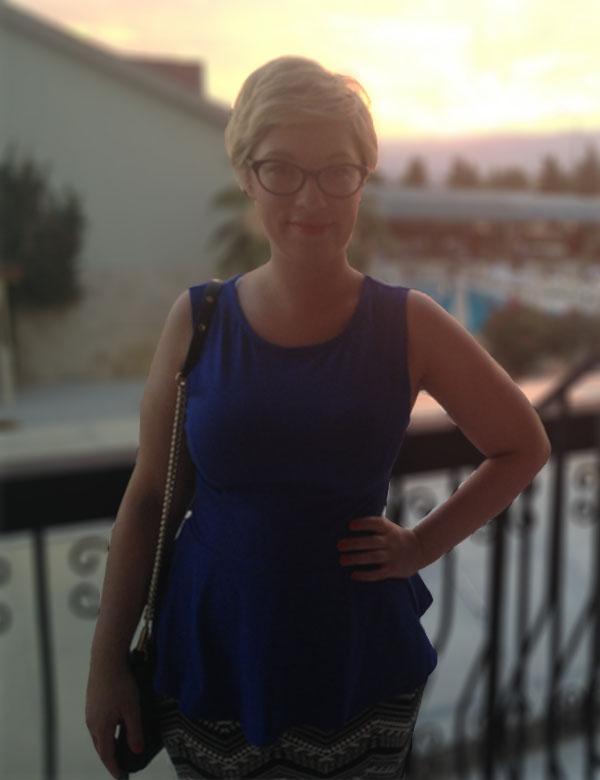 New Look Cobalt Peplum Top, New Look Monochrome Midi Skirt, ASOS Sandals, Rebecca Minkoff Mini Mac