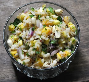 Mango poha ; mangoes and rice flakes in a summer salad...