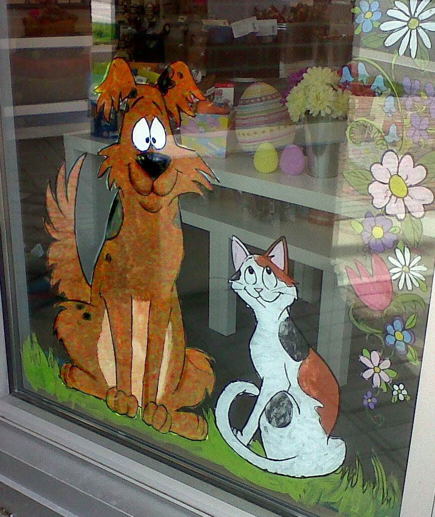 Spring window painting - I Did A Window Painting For A Pet Store In Burnaby To Celebrate Spring A Dog And Cat In One Corner And A Border Of Spring Flowers All Around