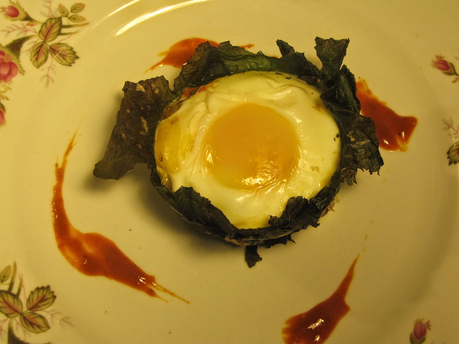 Eggs Baked Into A Collard Green Molded Cups