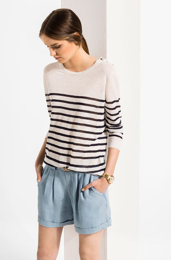 Light blue shorts and stripy sweater via Massimo Dutti.