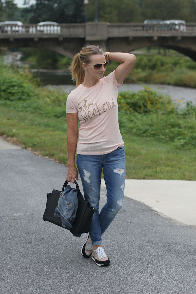 ray ban aviators, nordstrom crystal earrings, sweet ts design tee, 7FAM jeans, michael kors handbag, randall loeffler sneakers
