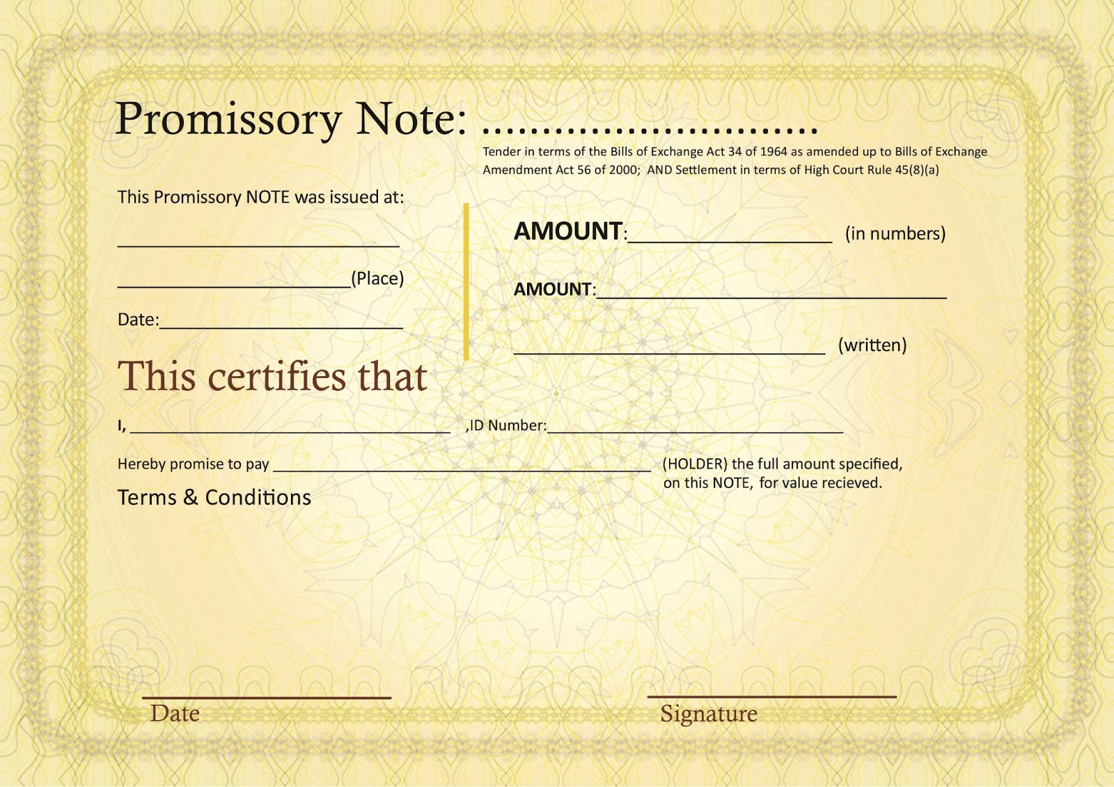 Opinions on promissory note for Promissory note template canada