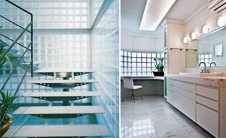 tijolo de vidro, escada, banheiro