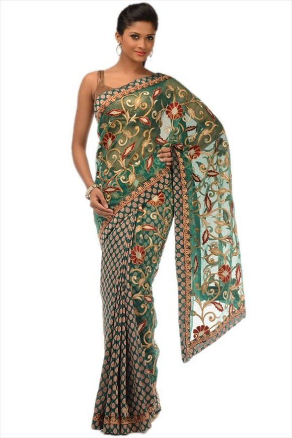 Emerald Green Net Saree