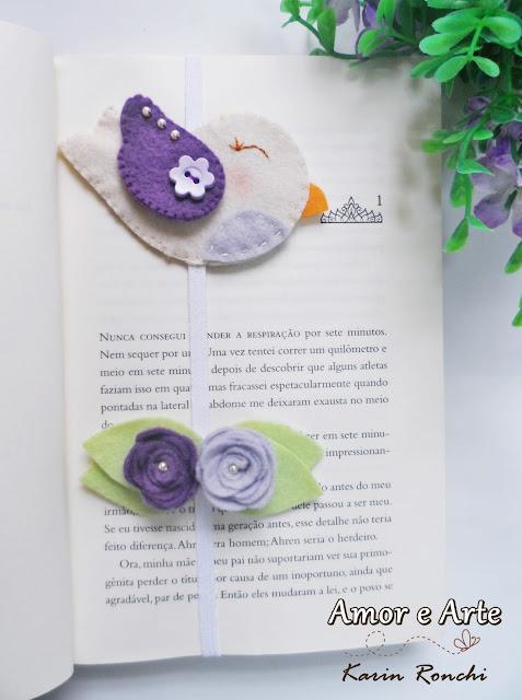Marcador de Páginas Passarinho + Rosas!