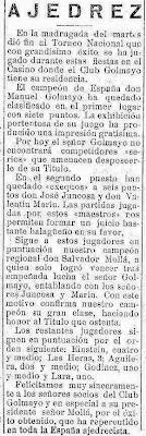 Información sobre e I Torneo Nacional de Ajedrez de Murcia 1927 en El Liberal, 28 de abril de 1927