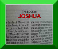 The front page of the book of Joshua from the Old Testament in the Bible, with the title Joshua in red capital letters in a green frame