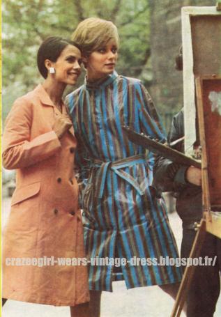 Raincoat - 1966  vinyl pvc rain coat 60s 1960 striped stripe