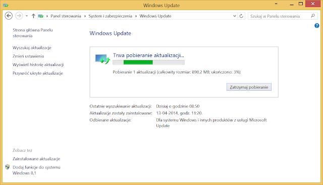 Windows Update pobiera aktualizację