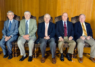 Dr. Dowling (second from left) is among five faculty to hit the 40 year milestone at SHSU.