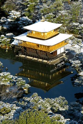 First Snow Coming on the Kinkakuji Temple, Kyoto
