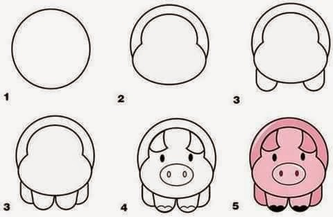 Learn to draw a pig for kids anak
