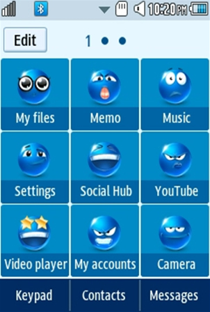 Other Cute, Blue Smiley Samsung Corby 2 Theme 2 Menu