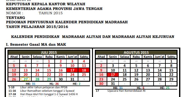 Draft Kaldik Madrasah Tp 2015 2016 Media Berbagi Ilmu Amp Informasi