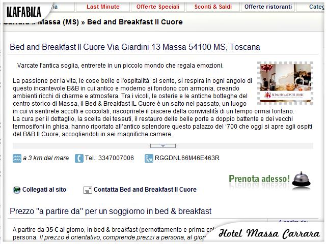 Hotel Massa Carrara - Scheda Attività